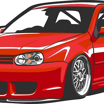 Stanced out Golf MK4 Red by StickerNation