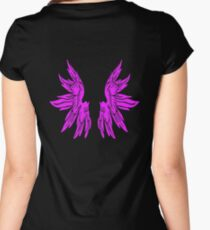 Pink Long Angel Wings - Funny T-Shirt Back Design Women's Fitted Scoop T-Shirt