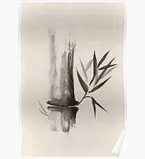 Bamboo stalk Sumi-e Oriental Zen painting in sepia art print Poster