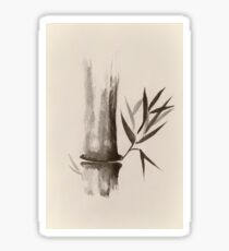 Bamboo stalk Sumi-e Oriental Zen painting in sepia art print Sticker