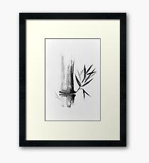 Bamboo stalk Sumi-e Oriental Zen painting illustration art print Framed Print