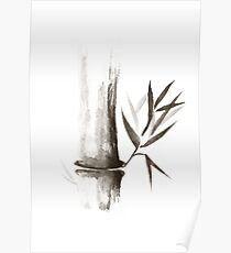 Bamboo stalk Sumi-e Oriental Zen painting art print Poster