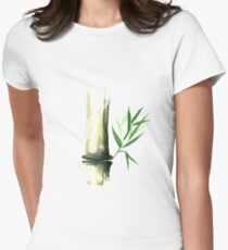 Bamboo stalk with green leaves Sumi-e Oriental Zen painting art print Women's Fitted T-Shirt