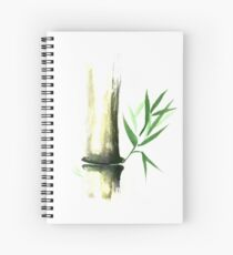 Bamboo stalk with green leaves Sumi-e Oriental Zen painting art print Spiral Notebook