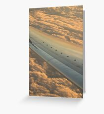 Airplane flying in sky wing in flight photo Greeting Card