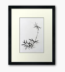 Bamboo stalk with young leaves Sumi-e Japanese Zen painting artwork art print Framed Print
