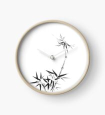 Bamboo stalk with young leaves Sumi-e Japanese Zen painting artwork art print Clock