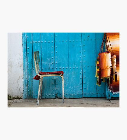 Chair on Blue Photographic Print