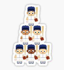 Baseball Pinstripes White and Blue - Super Cute Sports Stars Sticker