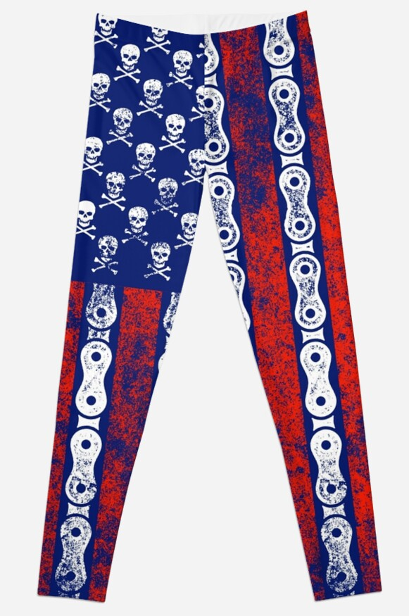 eacb7df4054ae Skulls and Chains Motorcycle Biker American Flag