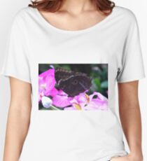 Colorful butterfly on flowers in the garden  Women's Relaxed Fit T-Shirt
