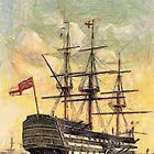 """A digital painting of  The """"Victory"""" (Nelson's Flagship) Portsmouth, Hampshire, England 19th century by Dennis Melling"""