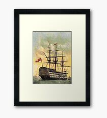 """A digital painting of  The """"Victory"""" (Nelson's Flagship) Portsmouth, Hampshire, England 19th century Framed Print"""