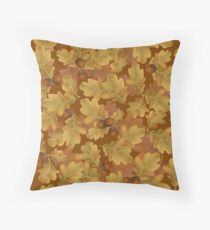 Autumn oak leaves with brown acorns Throw Pillow