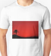Red Andalusian sunset with silhouette palm tree and mountain T-Shirt
