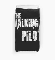 funny Pilot, walking Aircraft Airman, plane Helicopter piloting gift t shirt Duvet Cover