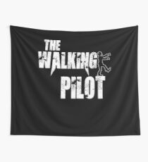 funny Pilot, walking Aircraft Airman, plane Helicopter piloting gift t shirt Wall Tapestry