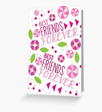 BFF best friends forever pattern Greeting Card
