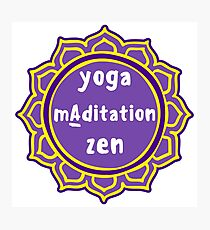 Violet Mandala and Sign 'Yoga Maditation Zen' for yogis Photographic Print