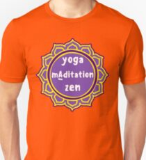 Violet Mandala and Sign 'Yoga Maditation Zen' for yogis T-Shirt
