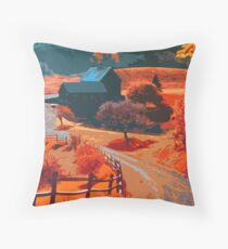 Farm in Autumn Throw Pillow