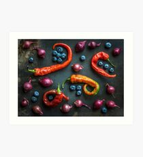 Peppers, blueberries and baby red onions No. 32 Art Print