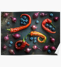 Peppers, blueberries and baby red onions No. 32 Poster