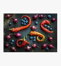 Peppers, blueberries and baby red onions No. 32 Photographic Print