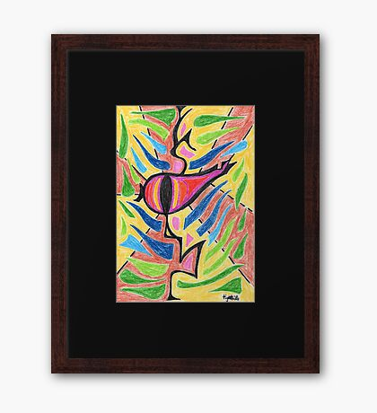 2208 - Eternal Eye Watching Before Yellow and Brown Framed Print