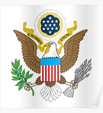 WAR, SEAL, American, Eagle, Patriot, Flag, America, Bald Eagle, USA, Bird of Prey, on WHITE Poster