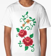 Folk embroidery with flowers  Long T-Shirt