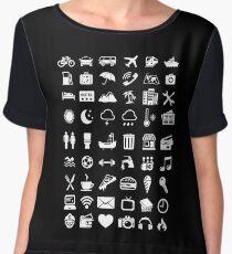 Travel Icons Language (White) Chiffon Top