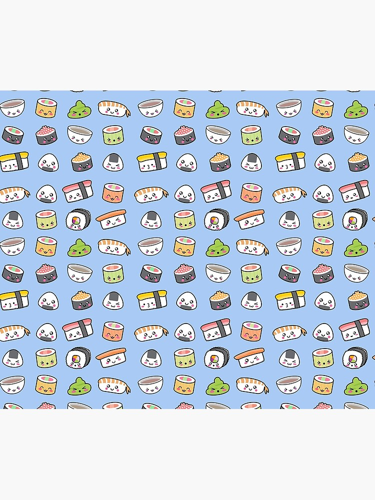 Happy kawaii sushi pattern by EuGeniaArt