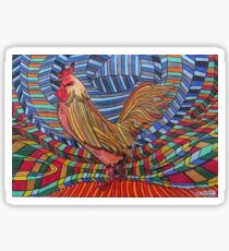 317 - COCKEREL DESIGN - DAVE EDWARDS - COLOURED PENCILS - 2011 Sticker