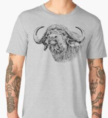 Cape Buffalo Bull, Close Up | African Wildlife Men's Premium T-Shirt
