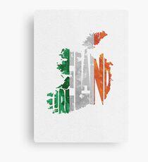 Irland typografische Karte Flagge Metallbild