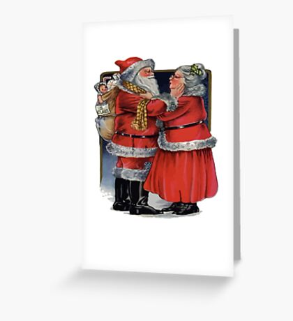 Vintage Mr and Mrs Claus Christmas Vector Greeting Card