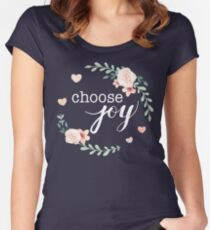 Choose Joy Inspirational Quote Boho Chic Design Women's Fitted Scoop T-Shirt