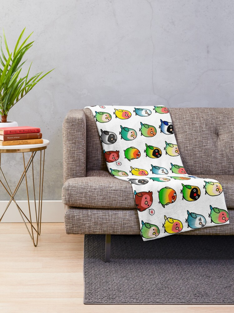 Alternate view of Chubby Lovebirds Throw Blanket
