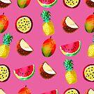 « Motif exotique ananas, pastèque, fruits de la passion... » par fafnnydesigns