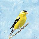 Goldfinch Art, Yellow Bird Painting, Birds and Berry Studio by birdsandberry