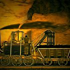 My digital painting of A Blenkinsop Locomotive at an Old Colliery in Yorkshire 19th century by Dennis Melling