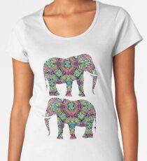 Ornate Colorful Indian Elephants Pretty Stylish Design Women's Premium T-Shirt