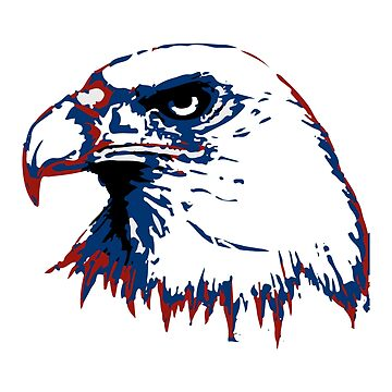 Red Blue American Bald Eagle Retro Design Sketch by mashingTees
