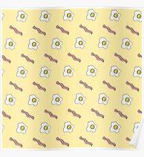 Eggs and Bacon Breakfast Foodie Funny Pattern Poster