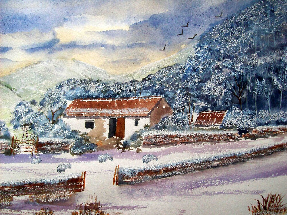 Barn in Winter landscape watercolor painting  by coolart