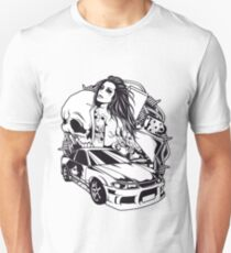 Tattoo GIRL with SKULL AND CAR - Snake T-Shirt