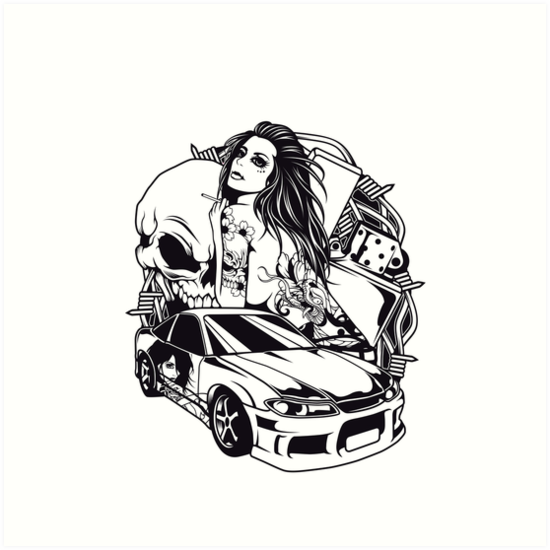 Tattoo Girl With Skull And Car