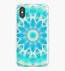 Blue Ice Goddess, Aqua Cyan Star Mandala iPhone Case