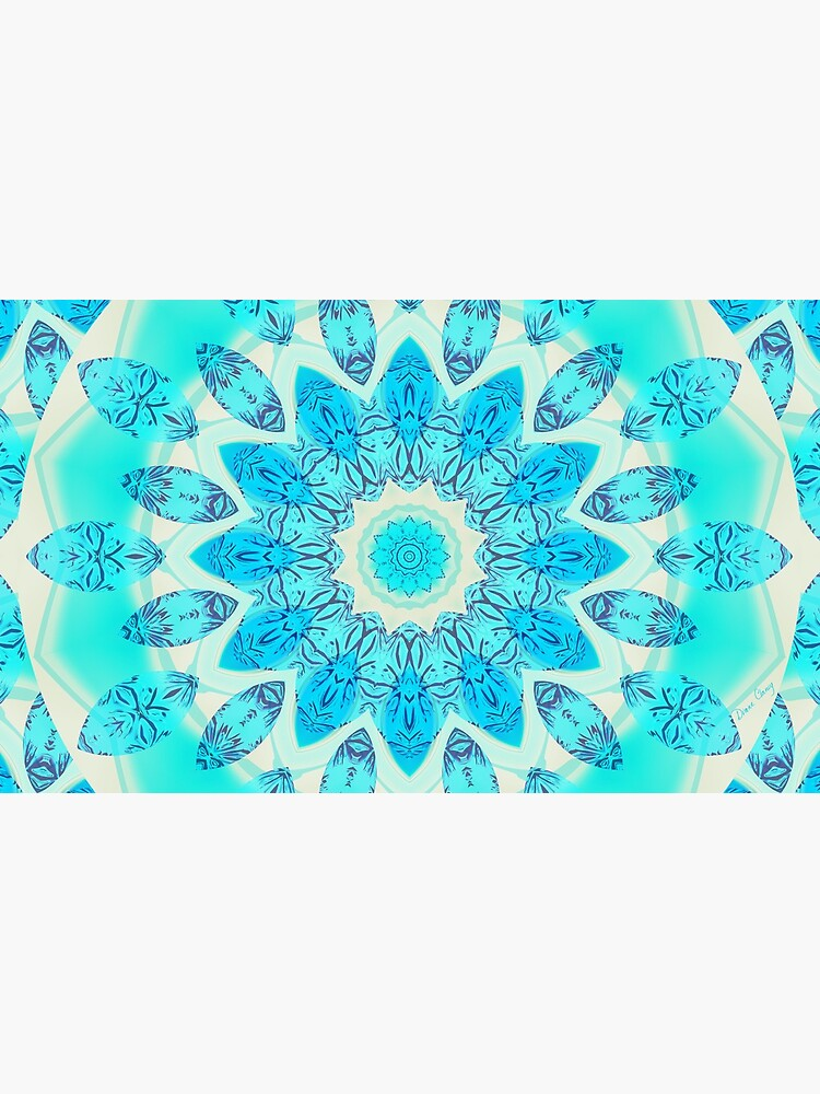 Blue Ice Goddess, Aqua Cyan Star Mandala by dianeclancy